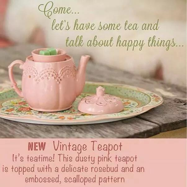 VINTAGE TEAPOT PINK wickfree scentsy warmer candle wax scents  premium buy shop wickless