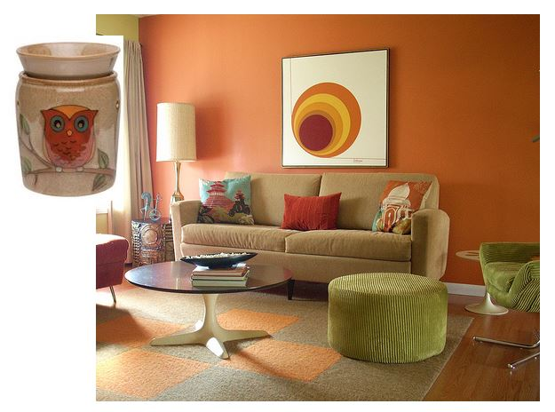 room design idea scentsy orange brown owlet