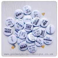Pack of 50 wedding favour badges black font