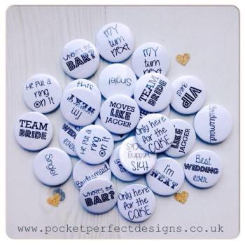 Pack of 50 wedding favour badges black font