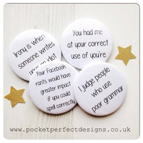 Grammar pack of 4 badges
