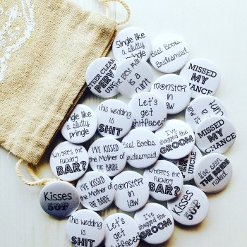 Rude favour badge pack of 50