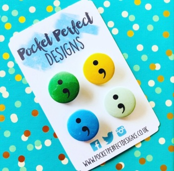 Semi Colon Pack Of 4 Badges