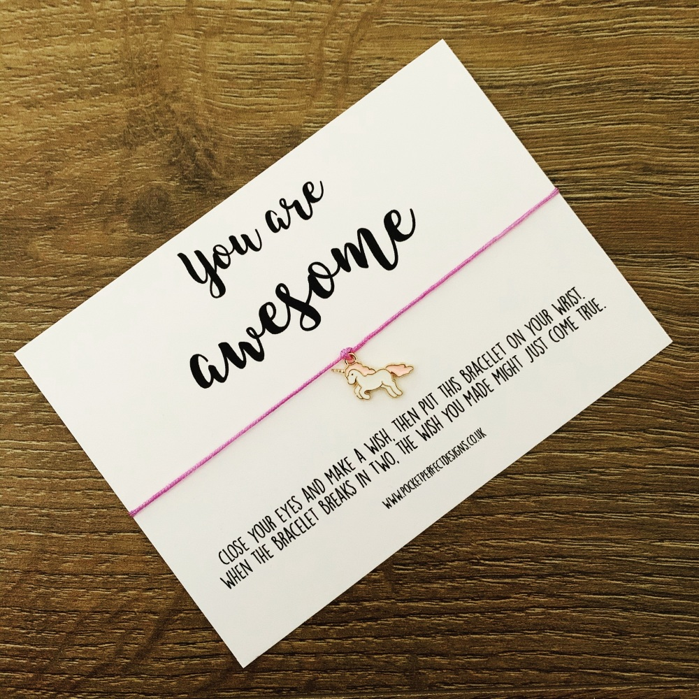 You Are Awesome Unicorn Wish Bracelet