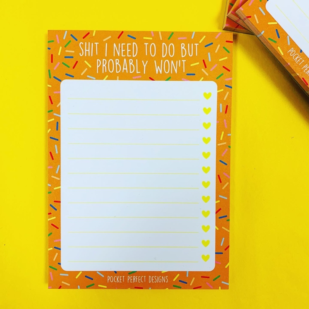 Orange Sprinkles Shit To Do But Won't Notepad