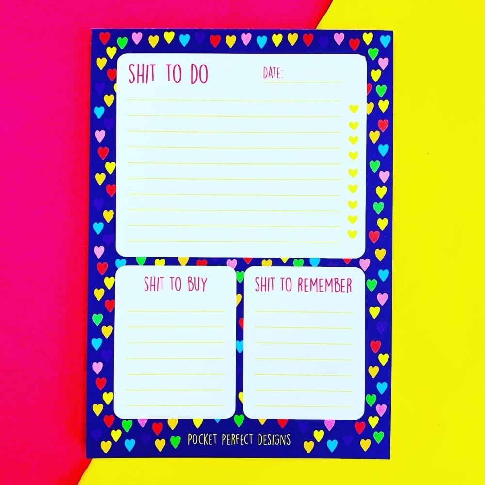 Rainbow Hearts A5 Shit To Do Notepad