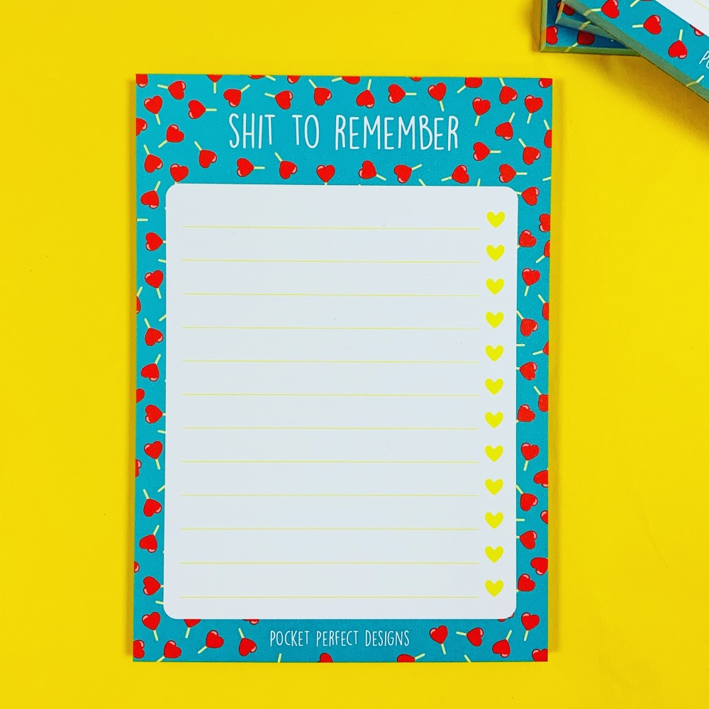 Lollipop Hearts Shit To Remember Notepad