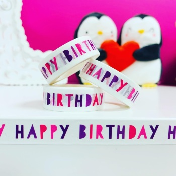 Pink & Purple Happy Birthday  Washi Tape