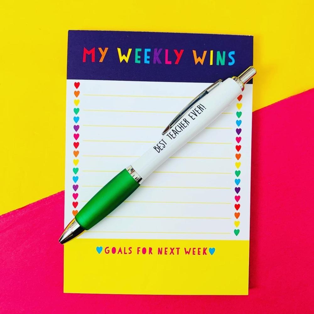 Weekly Wins Notepad  & Teacher Pen
