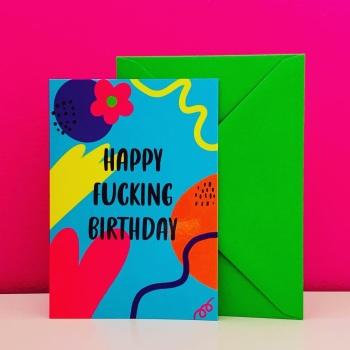 Blue Happy Birthday Card