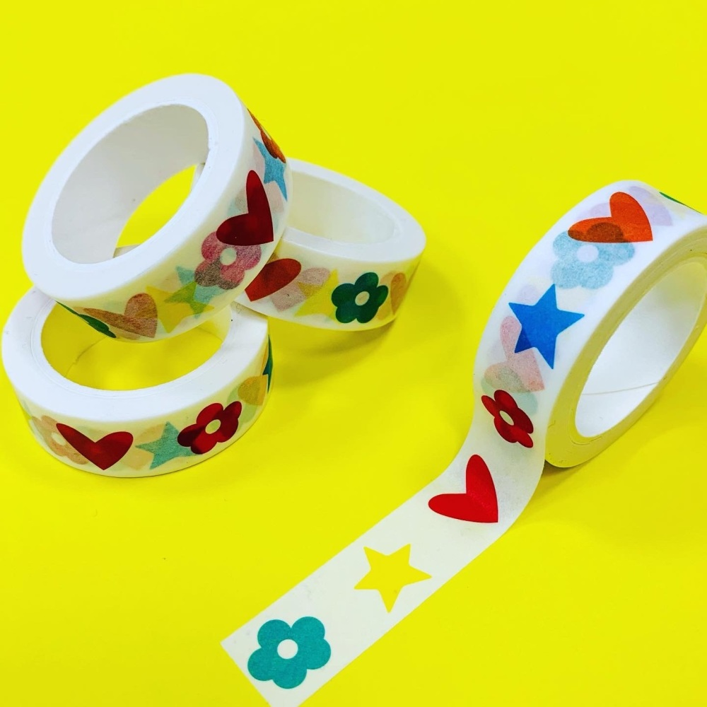 Flower, Star & Heart Washi Tape