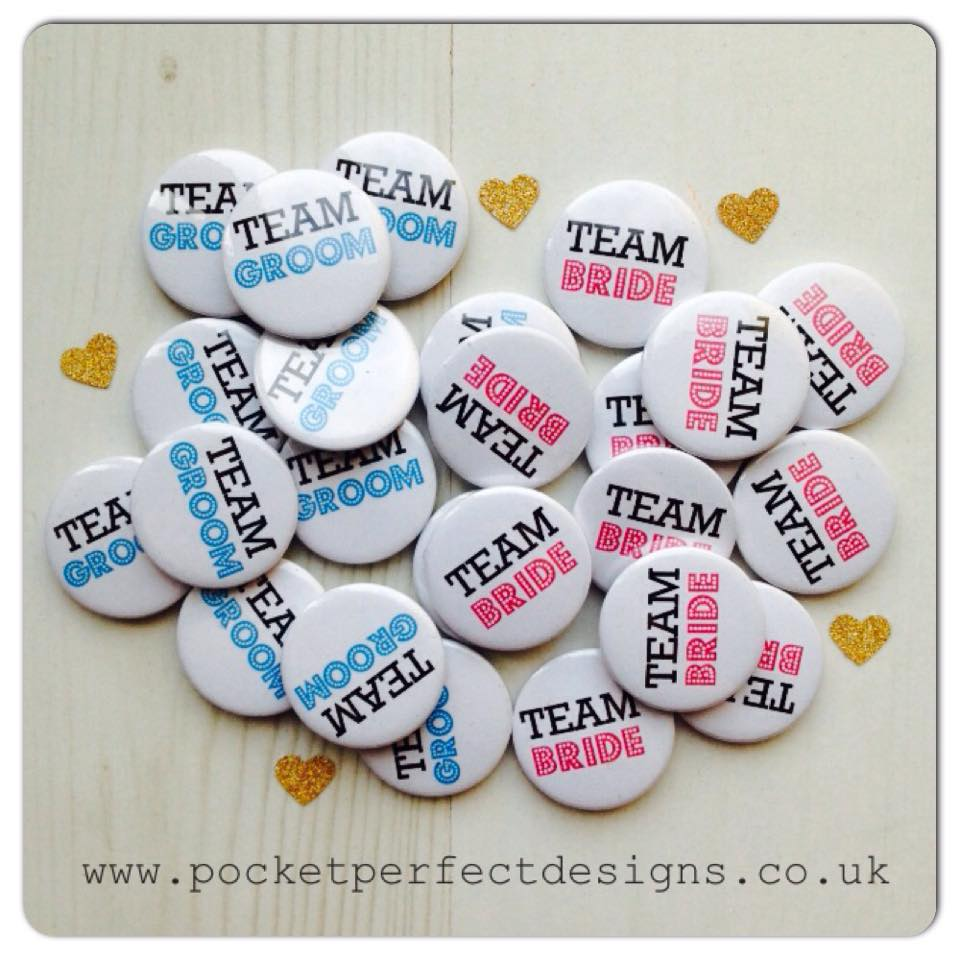 Team Bride & Groom pack of 50 badges