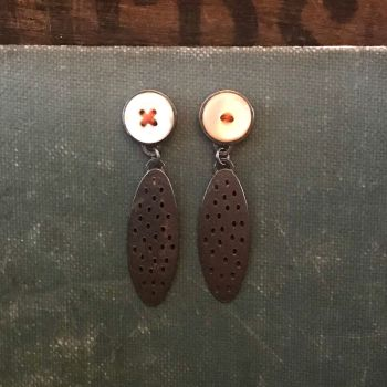 Mother of Pearl + Holey Oval Earrings