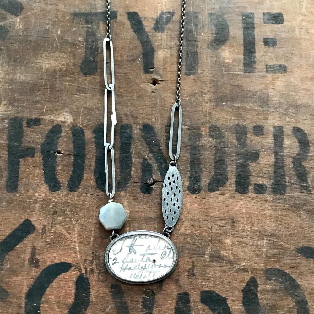 Horizontal, Sapphire, Holey Oval + Lozenge Necklace
