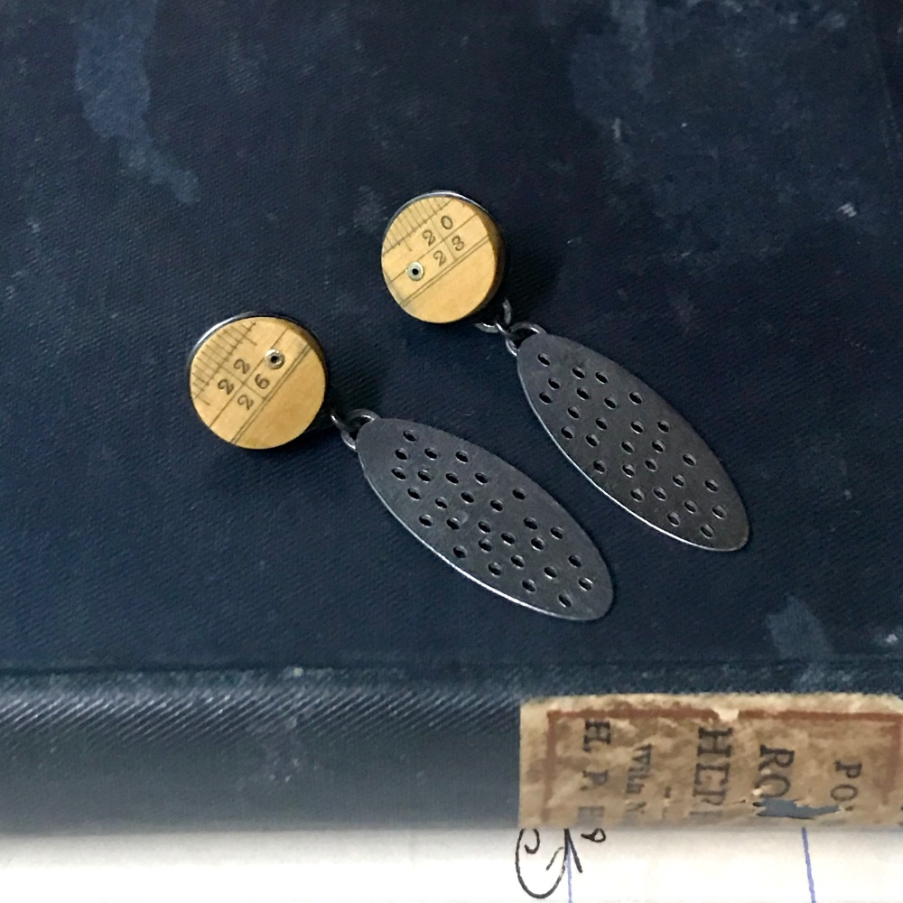 Ruler Dot + Holey Oval Earrings