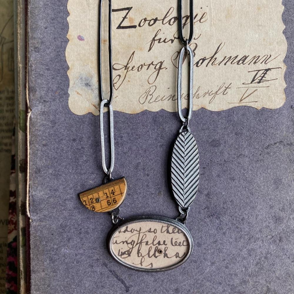 Oval Postcard, Ruler Arc, Chevron Oval + Lozenges Necklace