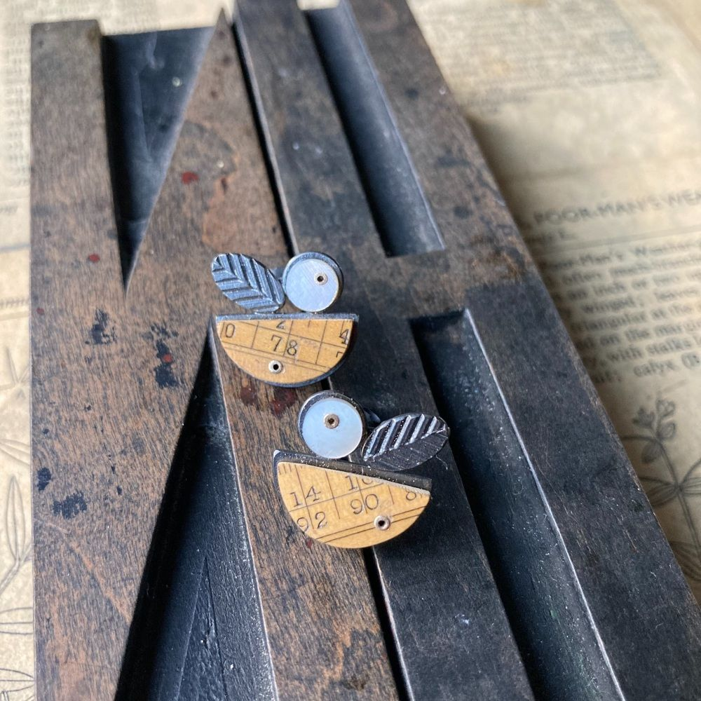 Ruler Arc, MOP + Chevron Oval Studs