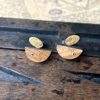 Ruler Arc + Gold Leaf Oval Studs