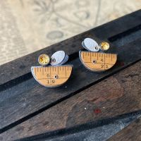 Ruler Arc, 2 Ovals + Gold Leaf Dish Studs