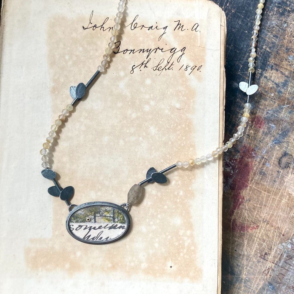 Postcard Oval, Scattered Ovals + Rutilated Quartz Necklace