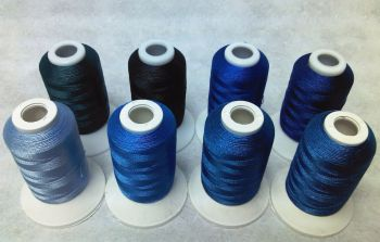 8 X 1000M TRILOBAL POLYESTER BLUES