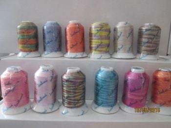 Single spools  Multicolour threads , polyester, 950m , (1000yrds)