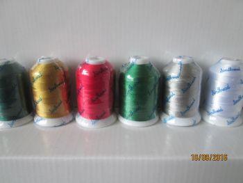 6 Christmas shades - 1000m polyester spools - no metallics