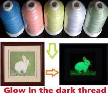 5 Mini king spools GLOW IN THE DARK Threads 1000m