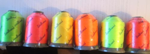 <!-- 010 --> 6 NEON shades - 1000m polyester spools - SPECIAL PRICE