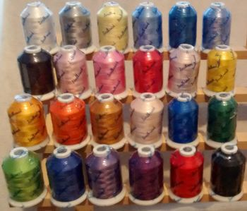24 x 1000m  Disney shades - Brother Equivalent colour codes + Free embroidery needles, bobbins and 5m tearaway