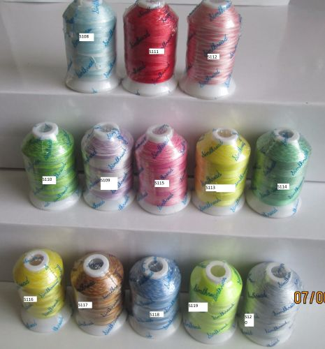<!--004-->SINGLE SPOOLS VARIEGATED 1000M POLYESTER THREADS -13 COLOURS