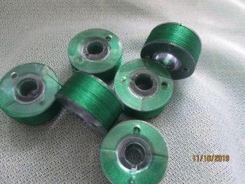 PREWOUND SIZE A BOBBINS - EMERALD GREEN - 507  - price per 6 bobbins