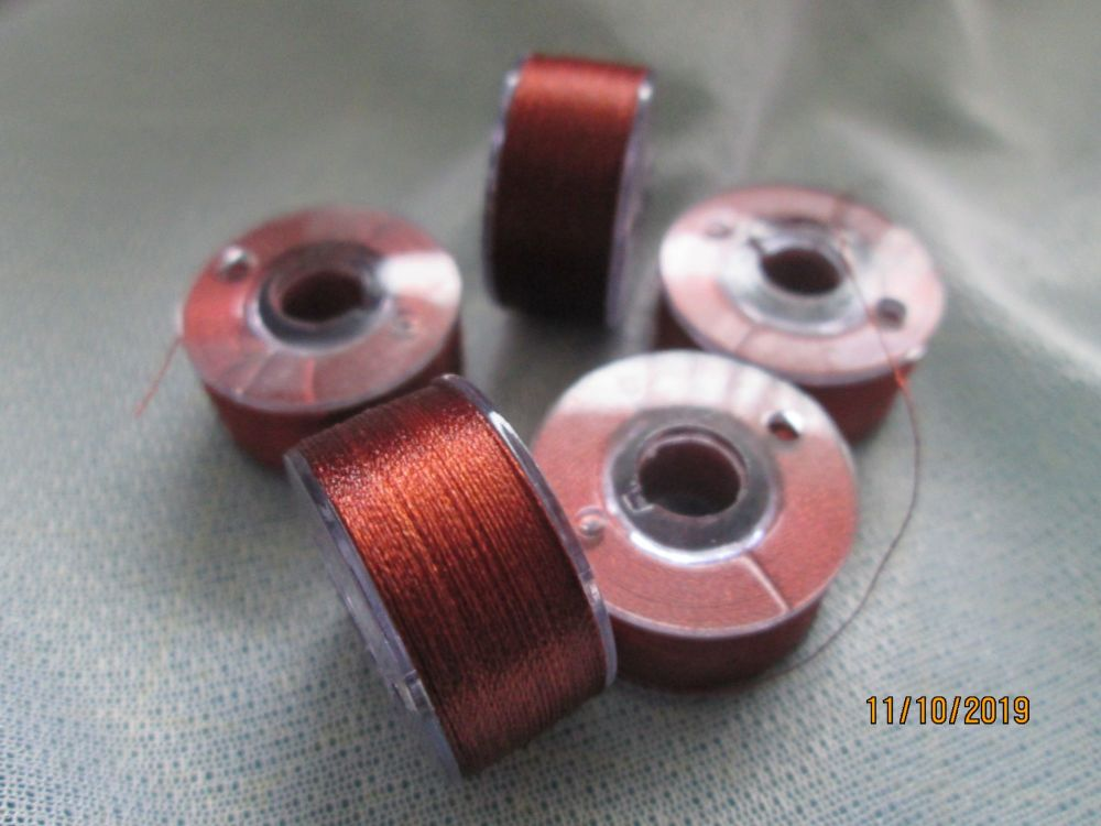 <!-- 009 -->PREWOUND SIZE A BOBBINS - CLAY BROWN 339  - price per 6 bobbin