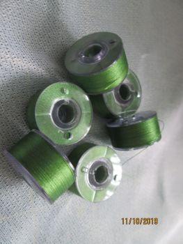PREWOUND SIZE A BOBBINS - MOSS GREEN 515  - price per 6 bobbins