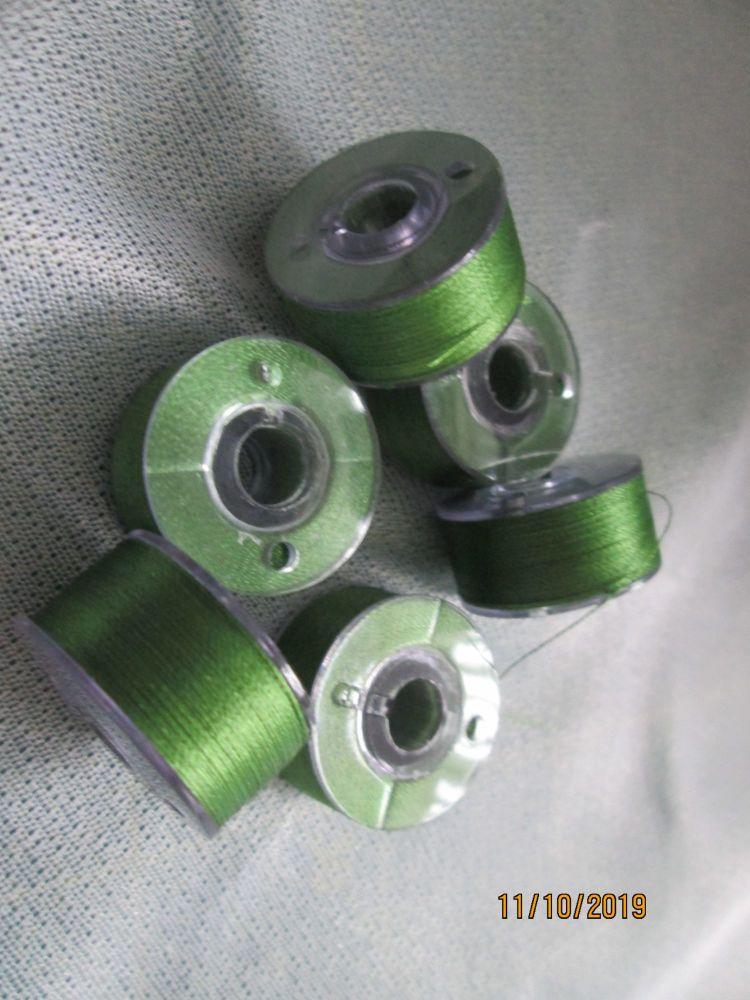 <!-- 009 -->PREWOUND SIZE A BOBBINS - MOSS GREEN 515  - price per 6 bobbin