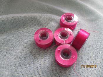 PREWOUND SIZE A BOBBINS - DEEP PINK -107  - price per 6 bobbins