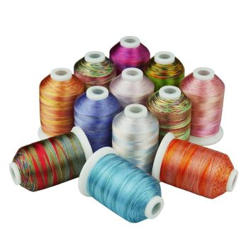 12  Multicolour Rainbow threads, polyester, 1000m set 1