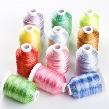 VARIEGATED 1000M POLYESTER THREADS  set of 12