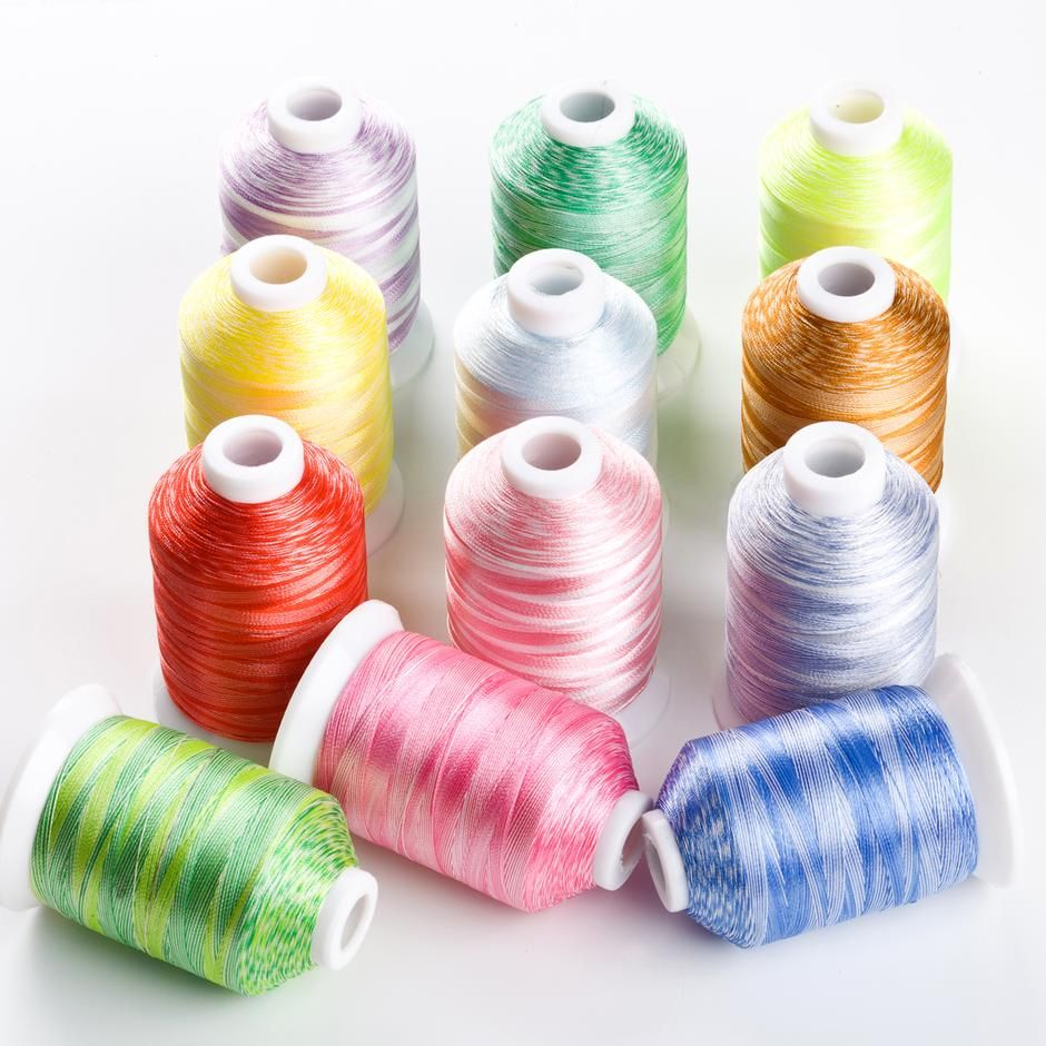 <!--003-->VARIEGATED 1000M POLYESTER THREADS  set of 12