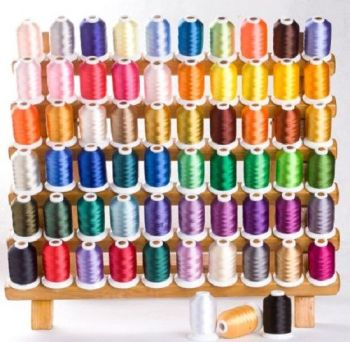 BOXED set 500m reels polyester thread 63 Brother colours  new in UK + FREE embroidery needles, bobbins and 5m tearaway