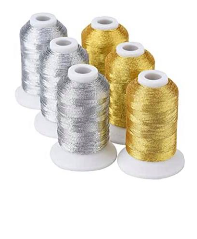 <!-- 006 -->500m spools of METALLIC THREADS - SINGLES - SILVER OR GOLD