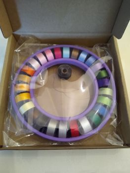 PREWOUND SIZE A BOBBINS - 27 COLOURS IN BOBBIN RING SAVER