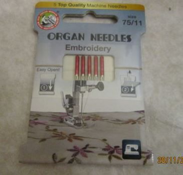 2 PACK OF 5 ---- 75/11 90/14 MIXED SIZES RED EMBROIDERY NEEDLES