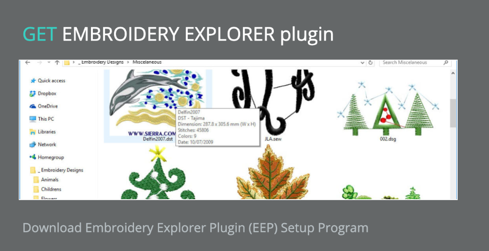GET EMBROIDERY EXPLORER plugin - SOFTWARE - FREE