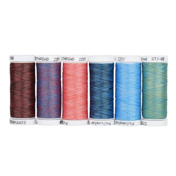 NEW - set of 6  Multicolour threads, for quilting, sewing and embroidery 220m spools
