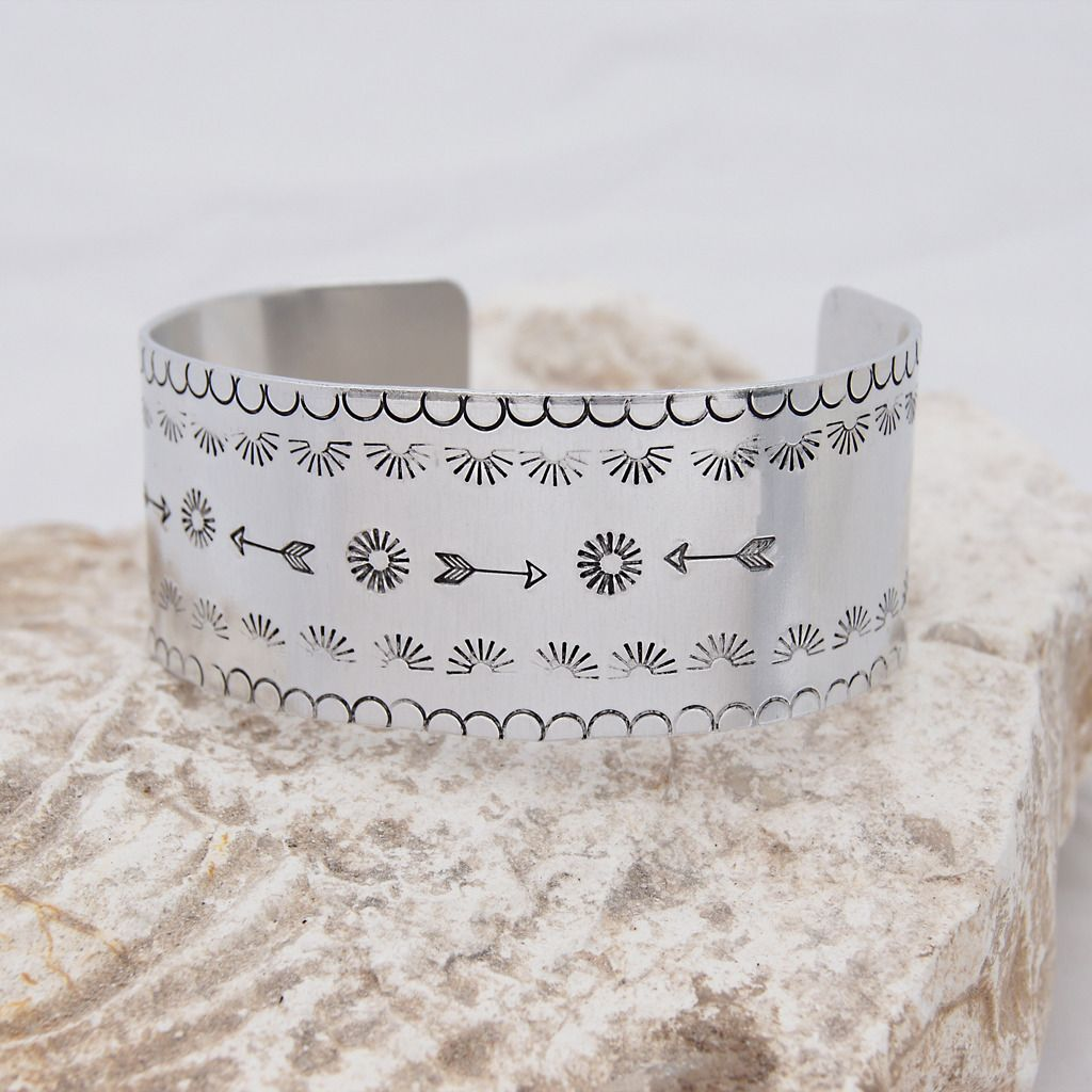 Hand-Stamped Navajo Inspired Aluminium Cuff Bangle