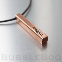 Square Bar Copper personalised Pendant Necklace