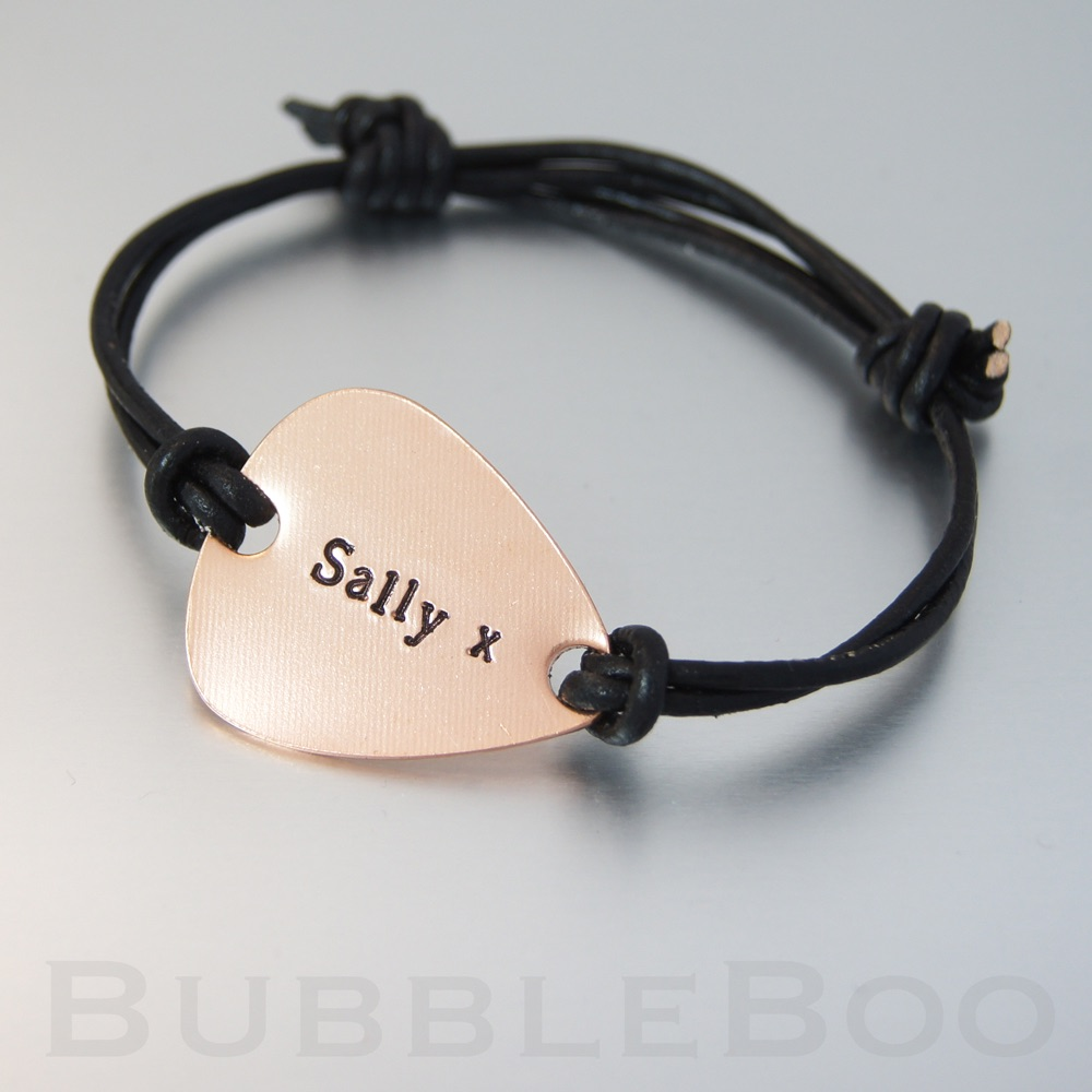 Personalised Copper Guitar Pick Bracelet - adjustable leather cord - hand-s