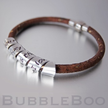 Vegan Secret Message Bracelet - Brown