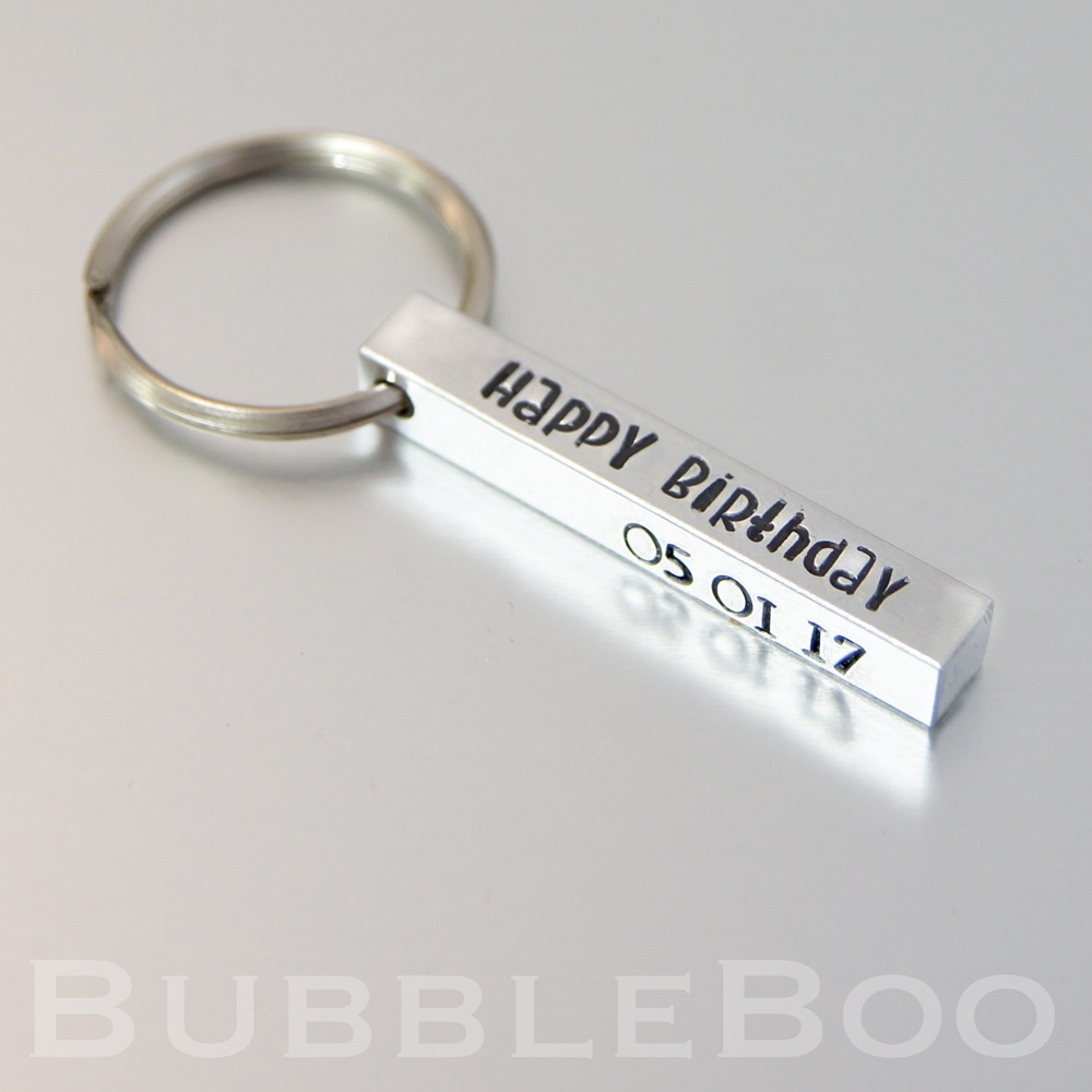 Personalised square keyring